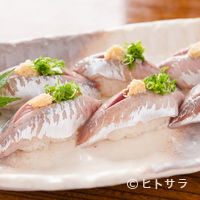 魚河岸 丸天 - 駿河湾の新鮮な素材を味わえる『アジのにぎり』