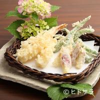 寿庵忠左衛門 - 『アスパラと茗荷の天麩羅』+『海老天』、季節の旬の天ぷらに