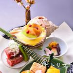 川甚 - コース中盤には華やかな前菜を提供