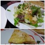 鎌倉パスタ - ◆長女のパスタにBセット(480円)を付け、デザートの代わりにピザ食べ放題(+200円)を。 *Bセットのサラダ。 *Bセットのピザ。いろんな種類のピザが運ばれてきて、好みの品を頂くシステム。