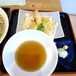 蕎麦 二天 - ざる天盛りセット_1,150円の天ぷら
