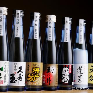 お酒は、地元の銘酒を中心にバランスよく取り揃えています