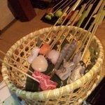 ラッキー酒場 - 魚介類とお肉の天ぷら、新鮮でこれまた絶品でした。