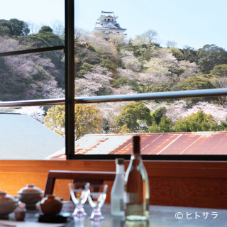 館山城天守閣の桜を一望できる絶景スポット