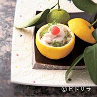 料理屋 植むら - 蒸し物はユズの中にクリーミーな白子がたっぷり入った雲子柚子窯