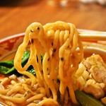 担担麺の掟を破る者 - 黄金の鰹出汁 南香梅と大葉と鶏(麺)