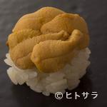 たつ庄 - 鮨の一例『雲丹』。壱岐産。みょうばん不使用なので本来の雲丹の味を楽しめます。
