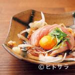 鶏魂鳥福 - ささみユッケ 600円