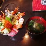 味の匠 大名庵 - 海鮮丼+あら汁(2100円)2017年4月