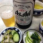 伊勢屋食堂 - 定食のお漬物&瓶ビール