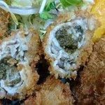 65149564 - い古い寿司 @西葛西 生牡蠣が使われるカキフライはプリプリの蒸し上がりで海のかほり充分