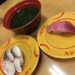 スシロー - 料理写真:「あおさと海苔の味噌汁」、「とろ〆さば」、「上々大切り中とろ」