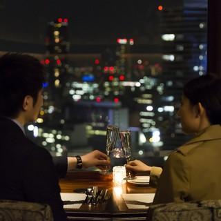 【夜景が見える】窓側カップルシートはデートや記念日に♪