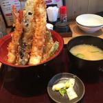 天ぷら海鮮 五福 - 丼に刺さった天ぷらが素敵〜(๑>◡<๑)