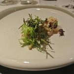 リストランテ カノフィーロ - 平スズキのカルパッチョ グリーンアスパラと毛蟹