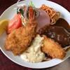 とん幸 - 料理写真:ハンバーグ、エビフライ、白身魚フライ ※Bセット1200円(税込)の内容