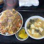 キッチンあべ - カツ丼(大盛,みそ汁,漬物)