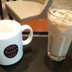 タリーズコーヒー イオンスタイル板橋前野町店 - サクラカプチーノ、アイスカフェオレ