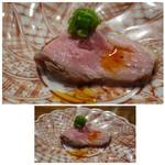 65207710 - ③鴨肉のロースト、ししとうソース。 鴨肉が好まないのですが、辛味のあるソースと共に頂くと美味しく頂けました。