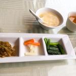 65213774 - 搾菜3点、スープ