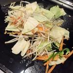 浅草もんじゃ 土蛍 - 最初に野菜