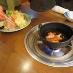 山翠 - 一つ一つ部位の説明をしながら鍋へ