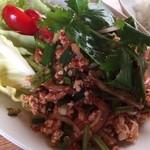 タイ屋台 コンタイ - ラープガイ、米チップのつぶつぶ感とハーブの香り最高!