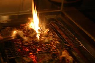 らんまる - 豪快な炭火焼を目の前で・・・