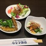 あたか飯店 - ワカサギの薬味ソース、棒棒鶏、海鮮サラダ
