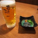 土佐のいごっそう 亀次 - 生ビールとお通し