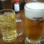 うみブタ - 緑茶ハイ(380円)と生ビール(300円)で       かんぱーい♪Ю―(^▽^o) ♪