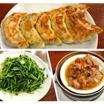 Shuukouen - 焼餃子・豆苗炒め・スペアリブの黒豆ソース