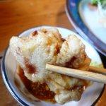 こつこつ庵 - 酢醤油&辛子をたっぷりつけて食べる
