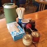 香湯ラーメン ちょろり - 卓上の調味料たち