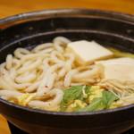 和食処おおつぼ - 今回、鍋は鍋焼きうどんでした(2017.4.10)
