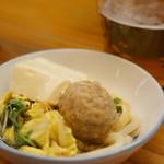 和食処おおつぼ - 小鉢に取り分けていただきます(2017.4.10)