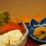 和食処おおつぼ - ポテサラ、野菜サラダ、セロリの醤油漬け(2017.4.10)