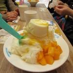 思慕昔 - マンゴーと手作りパンナコッタ雪花氷210元。  生のマンゴーがたっぷりと使われたこの店の人気NO1の商品です。