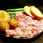 鳥吉 - 地鶏と野菜の盛合わせ