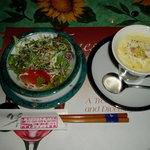 Home-Made かくれ家 - 「オーガニックサラダ」と「コーンポタージュスープ」