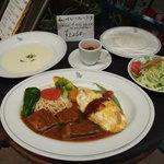 スターシップ - 料理写真:サービスランチ(11時~15時)プレーンオムレツとビーフシチューのセット \1260