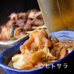 こちら西区高島裏横浜炭焼所 - ビールが欲しくなる! ピリっと辛いピリ辛白もつキャベツ