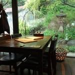 トラットリア・モキチ - 店内と素敵な庭