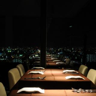 東大阪の夜景を一望する、ロマンチックな演出