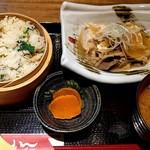 65363455 - おこわ御膳(あさりと菜の花のおこわ + 肉豆腐)