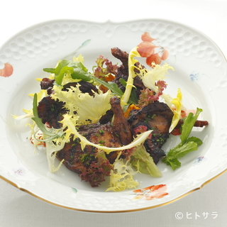 リストランテ 濱崎 - 料理写真:『うずらのグリル蜂蜜とバルサミコ風味 ニンジンのスフレ添え』