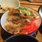 風鈴屋 - 皿そばランチ950円のミニ豚丼にワサビトッピングで味変