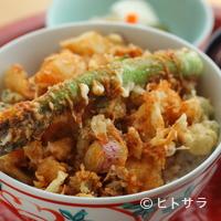 てんぷら 深町 - 季節の野菜がふんだんに『特製かき揚天丼』