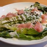 ホワイトイン高崎 スラッシュカフェ - 前菜。ロメインレタスのシーザーサラダ。       まるまる四分の一本。
