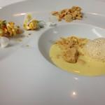 L'Astre - 料理写真:トウモロコシの冷たいスープ、フォアグラブリュレのアイス、キャラメルポップコーン